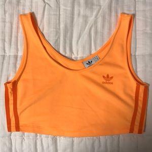 Neon orange adidas tank top